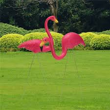 2pcs pink flamingo plastic yard garden lawn ornaments retro