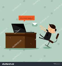 businessman sit front computer envelope monitor stock vector