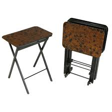 Folding Tray Table Set Set Four Black Lacquer And Tortoise Finish Folding Tray Tables At