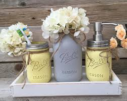Grey And Yellow Bathroom Accessories by Yellow And Grey Bathroom Decor Yellow And Gray Mason Jar Bath