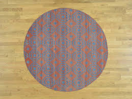 Dying A Rug 6 U0027x6 U0027 Reversible Kilim Flat Weave Round Hand Woven Pure Wool Rug