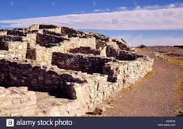 the ruins of pueblo indian stone and adobe homes of gran quivira