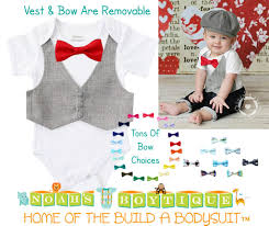 baby boy clothes grey pinstripe vest and bow tie baby