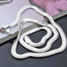 silver chain necklace snake images Valen bela silver plated jewelry 16 18 20 22 24 inch men jewelry jpg