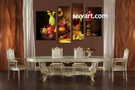 Wine Home Decor 4 Piece Colorful Wine Fruits Canvas Photography
