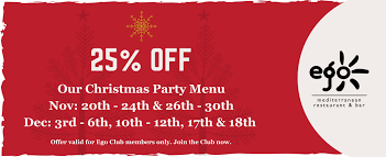 book your christmas party at ego cannock view our menus here