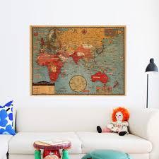 large world geography map wall stickers original creative art