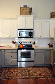 cute white grey colors two tone kitchen cabinets features double