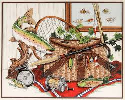 dimensions counted cross stitch kit fishermen u0027s fancy fly fishing