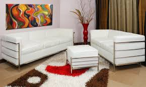 corbusier style grande sofa u0026 loveseat set in white leather