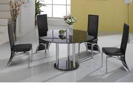 Glass Dining Table Set 4 Chairs Lazy Susan Round Black Glass Dining Table And 4 Black Faux Chairs
