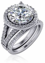 4 carat cubic zirconia engagement rings 4 carat pave halo cubic zirconia split shank cathedral
