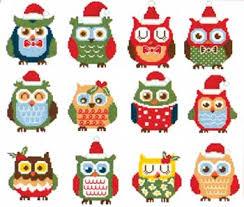 hooties christmas owls minis cross stitch nordic needle