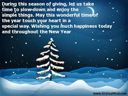 during this season of giving let us take time to statusmind