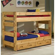 Cinnamon Rustic Pine TwinoverTwin Bunk Bed With Trundle - Twin over twin bunk beds