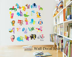 reusable animal alphabet wall decal fabric wall decal abc wall abc wall decal animal alphabet decal nursery by walldecalsource