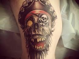 classic pirate skull tattoo design for half sleeve