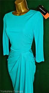 new karen millen turquoise fluid jersey draped cocktail dress uk 6