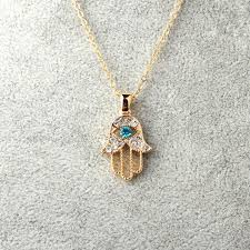 hamsa necklace silver images Turquoise crystal evil eye hand hamsa pendant necklace womens jpg