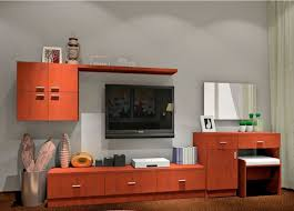 gray tv wall with brown cabinet 3d house