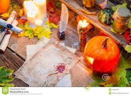 halloween scrolls background witch desk full of scrolls and candles royalty free stock photos