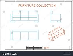 Floor Plan Front View by Blueprint Sofa Vector Front View Top Stock Vector 256465291