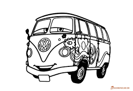 volkswagen van drawing disney cars coloring pages free printable coloring book