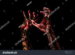 halloween zombie background halloween themebloody hands black background zombie stock photo