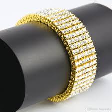 bracelet diamond men images 2018 men charm vintage 6 row iced out bracelet 14k gold silver lab jpg