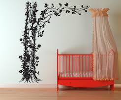 vinyl wall decal sticker tree with floral vines 1237