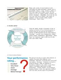 examples of performance appraisal