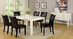 lamia white high gloss lacquer dining table set 6 black chairs