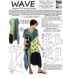 pattern art pdf wave dress small size range womens pdf sewing pattern boho banjo
