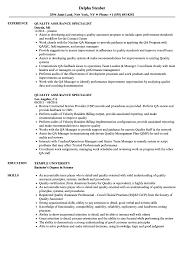 quality assurance resume quality assurance specialist resume sles velvet