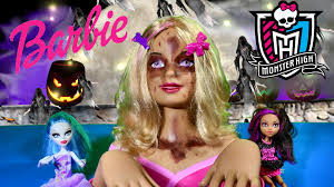 Halloween Monster High Doll Zombie Barbie Makeup Tutorial Barbie Styling Head Makeover Monster