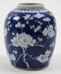 19th century chinese prunus decoration ginger jar with four