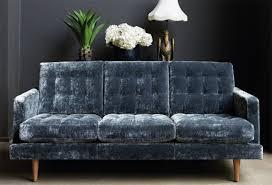 blue velvet sofa for small apartments
