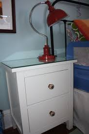 Ikea Hemnes Nightstand Blue Ikea Hemnes Bedside Table With New Knobs And Glass On Top Kids