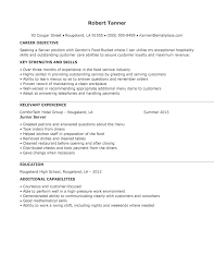 Exles Of Server Resume Objectives Service Industry Resume Resume Sle Career Change Administrative