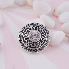Decorative Snaps 20mm Decorative Pattern Round Snap Antique Silver Plated With