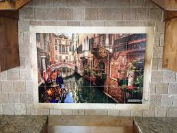 venice canal with gondolas custom printed kitchen backsplash