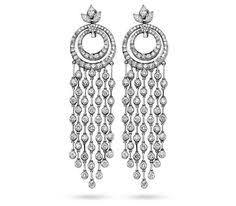 Designer Chandelier Earrings Designer 14k White Black Earrings 2 04ct Black Diamonds