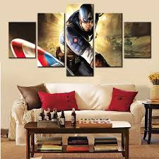 unframed home decor cool captain america 5 pcs wall art modern picture painting canvas