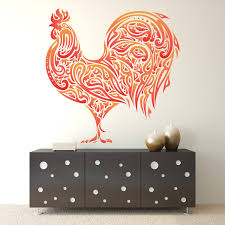 rooster wall decal sticker colorful rooster wall decal