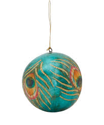 teal peacock feather bauble festive decorations from the liberty