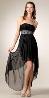 black high low wedding guest dress with a small short sleeve