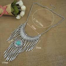 vintage silver pendant necklace images Vintage bohemian long gypsy pendant necklace antique silver tone jpg