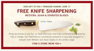 Free Knife Sharpening At Sur La Table Freebies2deals