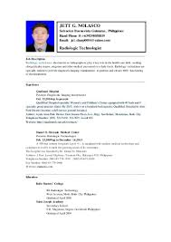 Sample Resume For Radiologic Technologist by Radiology Technician Resume Virtren Com