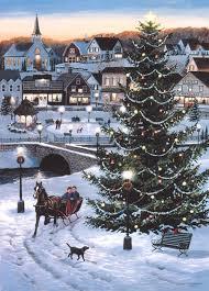 winter outdoor tree sleigh